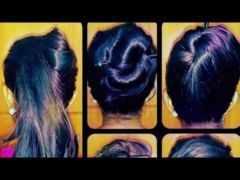5 quick and easy messy bun less than a minute  / princess hairstyle / hairstyle for school office /