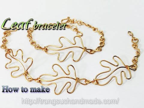 Leaf bracelet from copper wire  - How to make handmade jewelry 360