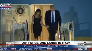 WOW: President Trump & Melania HOLDING HANDS as they Arrive on Air Force One in Italy (FNN)