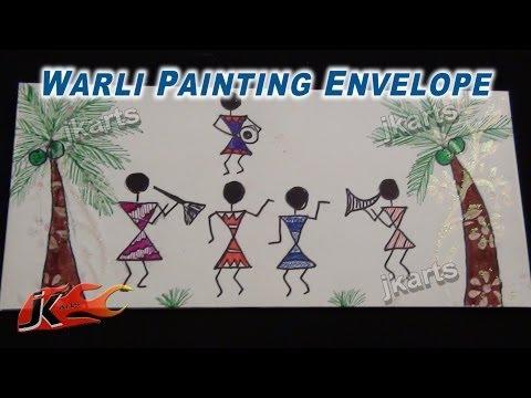 Warli Painting (Tribal Art / Warli Art ) on Envelope  - JK Arts 225