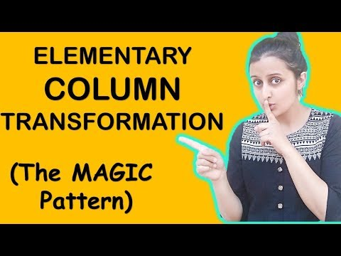 ELEMENTARY COLUMN TRANSFORMATIONS/ e - COLUMNOPERATIONS || MATRICES AND DETERMINANTS