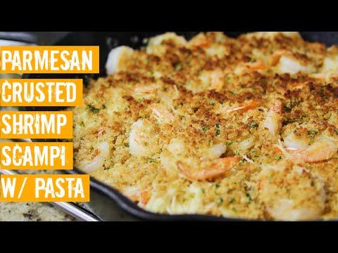 Shrimp Scampi Recipe: Parmesan Crusted Shrimp Scampi with Pasta