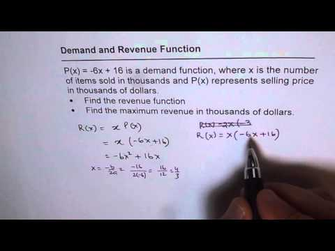 Demand and Revenue Function