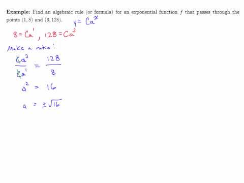 Module 5: Finding the Formula for an Exponential Function Given Two Points