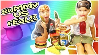 GUMMY FOOD VS REAL FOOD! ALMOST LOST A TOOTH!