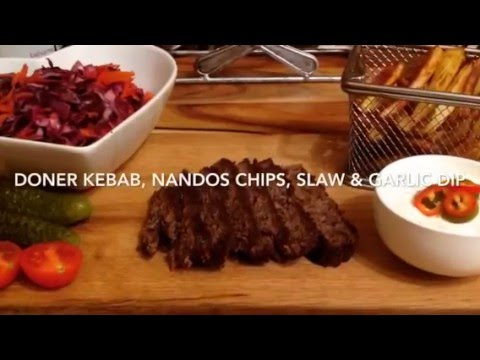 DONER KEBAB, NANDOS PIRI PIRI CHIPS, SLAW & GARLIC DIP 1/2 syn!