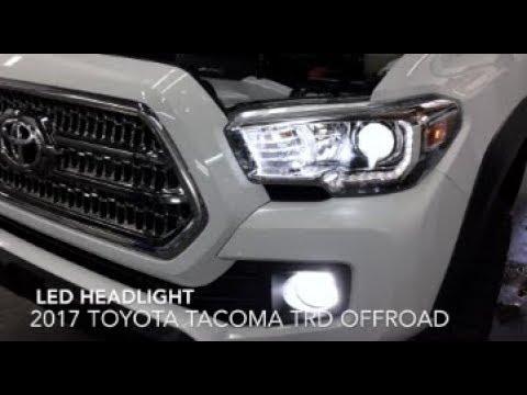 2017 Toyota Tacoma LED Headlight Bulb Installation, Comparison of Stock Versus OEM Halogen &  Review