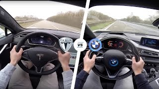 Tesla Model S P90D LUDICROUS vs BMW i8 Acceleration & TOP SPEED POV Autobahn