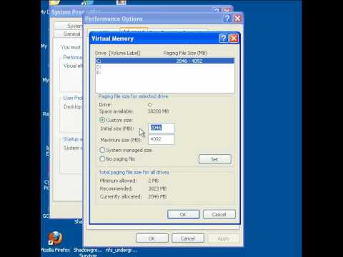 How to increase Virtual memory in XP