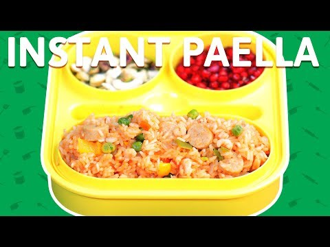 Chicken & Shrimp Fried Rice - How To Make Instant Paella - Fried Rice - Tiffin Recipe For Kids