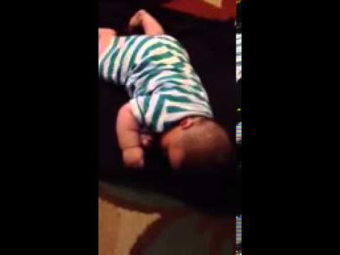 Boxer teaches baby to roll over!!!