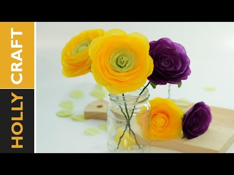 how to tissue paper flowers - Realistic Ranunculus