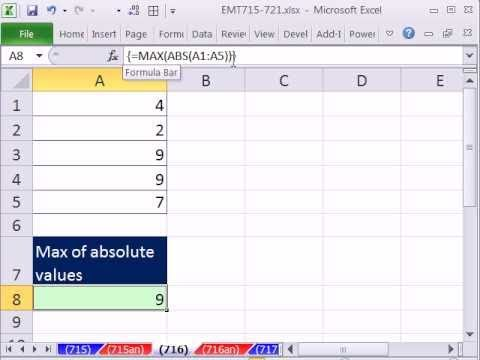 Excel Magic Trick 716: Max of Absolute Values MAX & ABS functions Array Formula