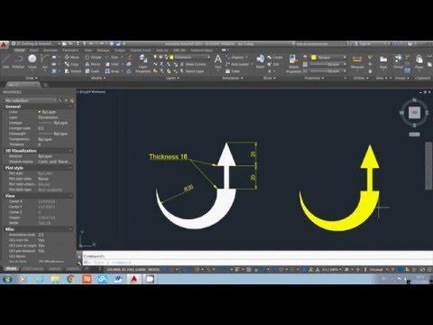 AutoCAD 2015 - Use Polyline to Draw an Arrow Sign Demo