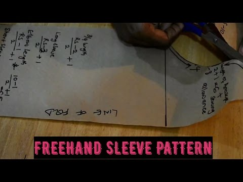 How To: CUT YOUR BASIC SLEEVE PATTERN | FREE HAND - Cisca stitches