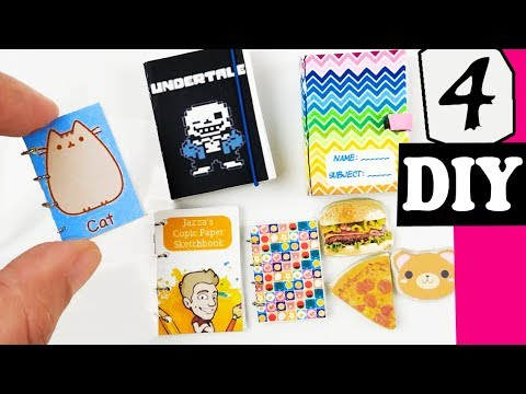 HOW TO MAKE 4 MINIATURE SKETCHBOOKS NOTEBOOKS DIY CRAFT ft Draw with Jazza EPIC TEENY WEENY ART