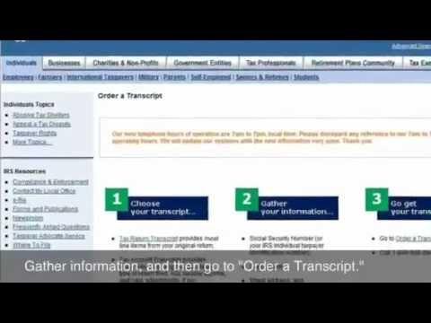 Ordering an IRS Tax Transcript