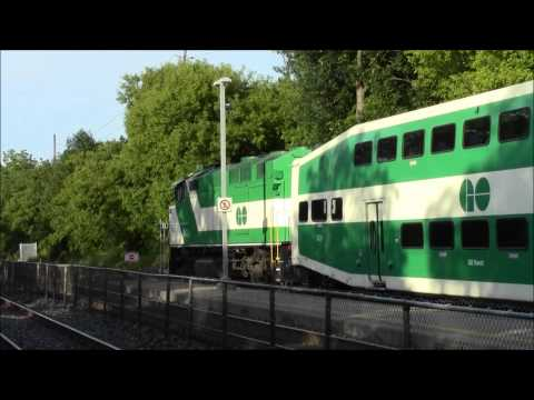 GO Transit Train Double Headed F59PH at Long Branch Station with K5LA, and a Super Fast VIA Rail