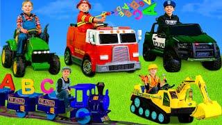 Les enfants apprennent avec une pelle, des voitures de police - Kids learn with excavator toys