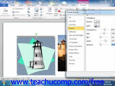 Word 2010 Tutorial The Format Picture Dialog Box-2010 Microsoft Training Lesson 12.5