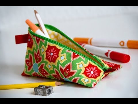 How to sew a pencil case or make up bag with a zip DIY tutorial