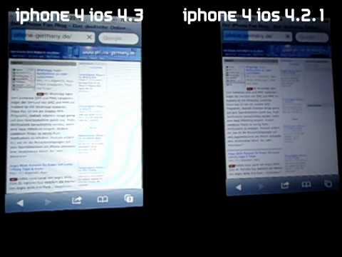iOS 4.2.1 vs. iOS 4.3 Safari Speedtest mit einem iPhone 4 WiFi & 3G