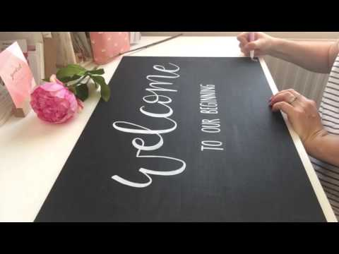 FULL VIDEO - Create beautiful welcome chalkboard for wedding w/ floral detail using paint pens