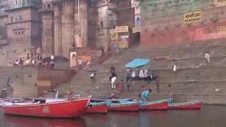 Holy sensation on the bank of river Varanasi Ganges