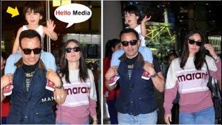 Taimur Ali Khan Saying HELLO To Media While With Mommy Kareena Kapoor & Dad Saif Ali Khan At Airport