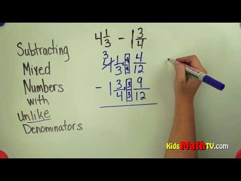 How to subtract fractions with different denominators tutorial