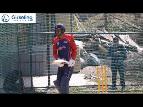 Paras Khadka batting in nets