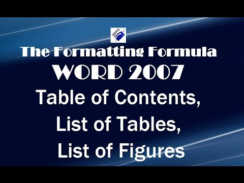 Word 2007    Table of Contents   List of Tables   List of Figures