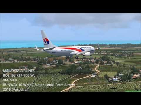 FSX) Malaysia Airlines 9M-MXB Landing Runway 10 WMKC Sultan