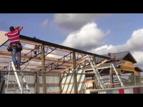 DIY How To Install A 16x36 Horse Run In Shed Or Loafing Shed With Steel Trusses And Metal Roofing