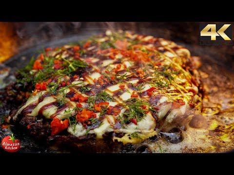 Ultimate Okonomiyaki! - 4K ASMR Winter Forest Cooking