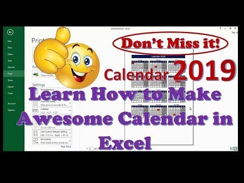 How to make Calendar in Excel - Calendar (2018) Full Tutorial