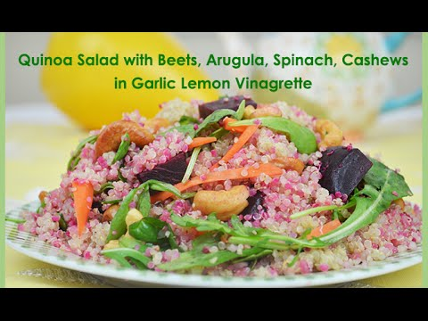 Quinoa Salad with Beets, Arugula, Spinach, Cashew Nuts in Lemon Garlic Vinaigrette