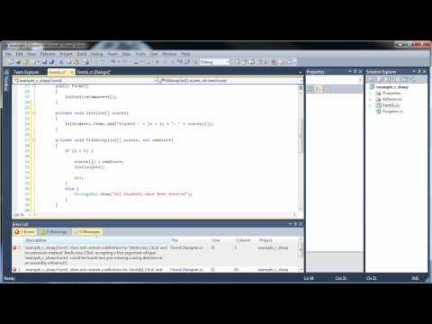 C#.Net Tutorial 14 - Arrays as Parameters and Multi-Dimensional Arrays