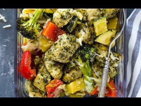 15 Minute Pesto Chicken and Veggies (low-carb, keto, paleo)