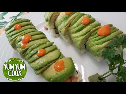 How to Make Avocado Sushi Roll | Caterpillar Sushi Roll | YumYumCook