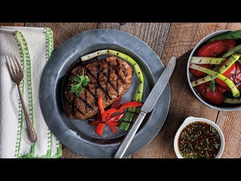 Orange-Teriyaki Steaks with Grilled Scallions & Bell Peppers   Price Chopper Cooking How-To