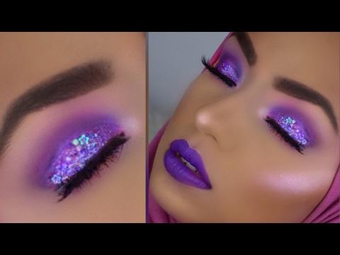 MONOCHROMATIC Purple Glitter Makeup Look With Purple Highlight