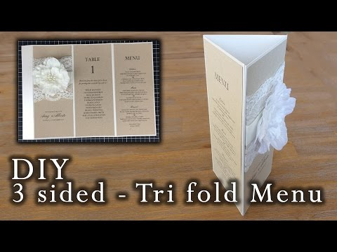 How to make a rustic 3 sided tri fold menu | wedding menu | DIY invitations