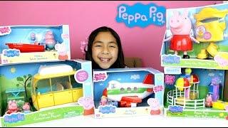 Peppa Pig Toys!! Speadboat Holiday Jet Campervan Playset Balloon Ride Peppa Pig|B2cutecupcakes