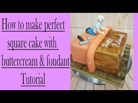 Sharp edges on a square cake how to tutorial buttercream & Fondant