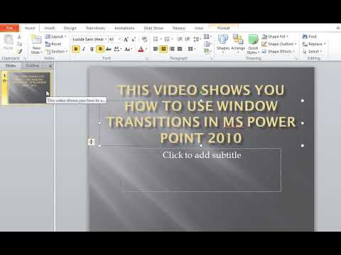 How to use Window Transitions in MS Power Point