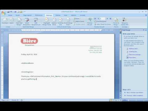 Mail Merge - Matching data Fields,  Address Block, Greeting Line, and Insert Merge Field Part 3