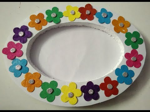 How to make very easy and beautiful photo framed    colourful flowers photo frame