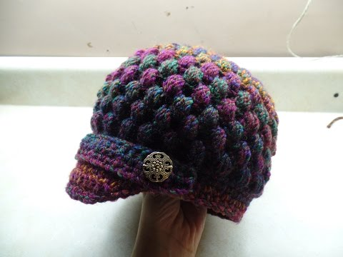 CROCHET How to #Crochet Newsboy Puff Stitch Hat #TUTORIAL #254 LEARN CROCHET