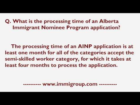 What is the processing time of an Alberta Immigrant Nominee Program application?